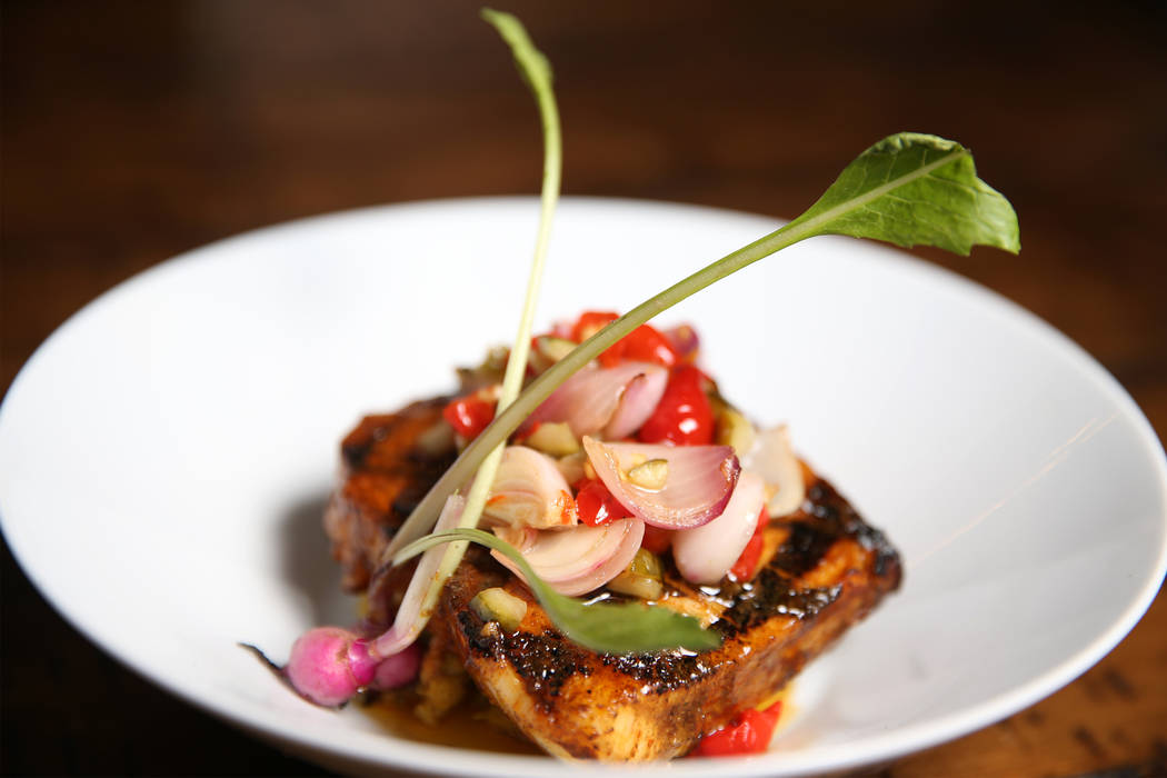 The anticucho miso is served with chilean seabass, pepsin de choclo, and pickled salsa, at the Palazzo hotel-casino in Las Vegas, Wednesday, Aug. 1, 2018. Erik Verduzco Las Vegas Review-Journal @E ...