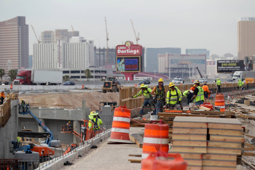 Work continues on Nevada Department of Transportation Project Neon on Interstate 15 between the Spaghetti Bowl and Sahara Avenue Thursday, Aug. 2, 2018. K.M. Cannon Las Vegas Review-Journal @KMCan ...