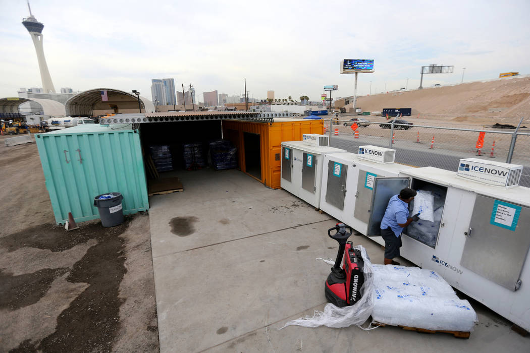 Lorenzo Tapia of Ice Now loads bags of ice into freezers at Nevada Department of Transportation Project Neon Kiewit facility adjacent to Interstate 15 Thursday, Aug. 2, 2018. The ice is used in co ...
