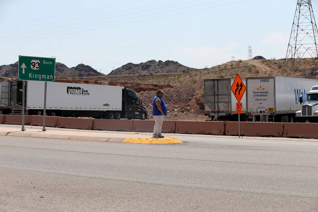 A truck driver waits to cross U.S. Highway 93 near the Hoover Dam Lodge Wednesday, Aug. 1, 2018. K.M. Cannon Las Vegas Review-Journal @KMCannonPhoto