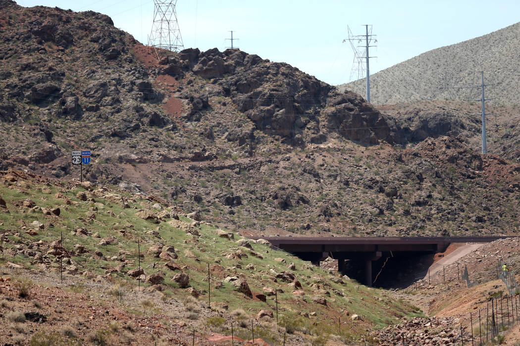 Final work is done on a section of Interstate 11 near the Hoover Dam Lodge Wednesday, Aug. 1, 2018. K.M. Cannon Las Vegas Review-Journal @KMCannonPhoto