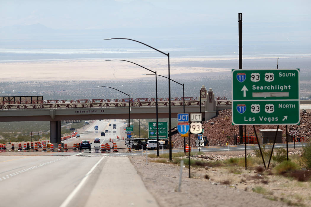 Interstate 11 crosses over U.S. Highway 95 in Boulder City Wednesday, Aug. 1, 2018. K.M. Cannon Las Vegas Review-Journal @KMCannonPhoto
