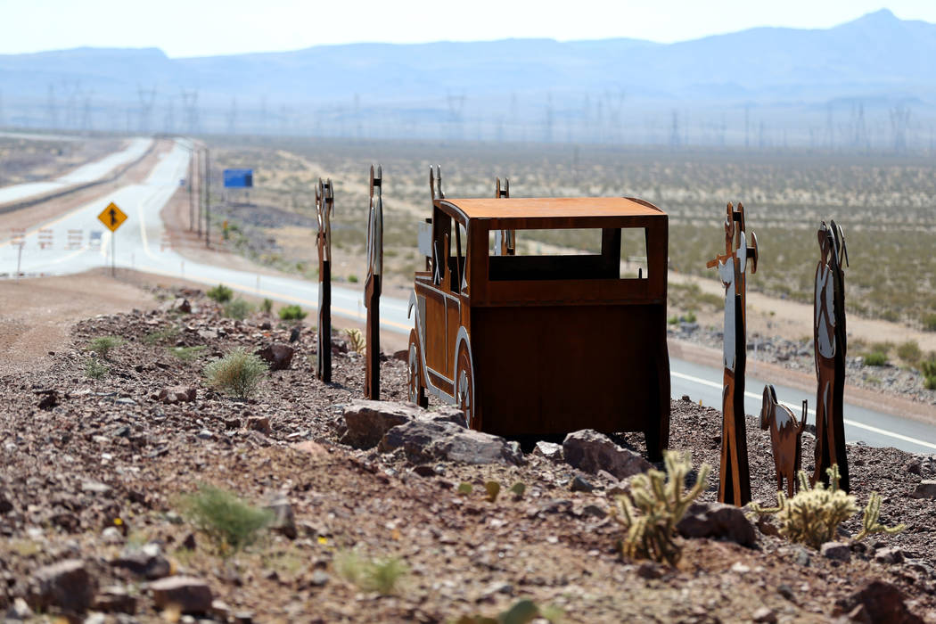 Art on Interstate 11 near U.S. Highway 95 in Boulder City Friday, Aug. 3, 2018. K.M. Cannon Las Vegas Review-Journal @KMCannonPhoto