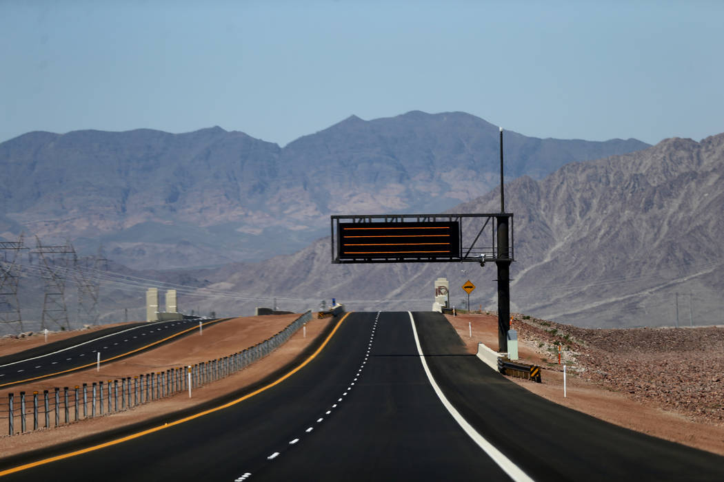 A message sign over Interstate 11 Friday, Aug. 3, 2018. K.M. Cannon Las Vegas Review-Journal @KMCannonPhoto