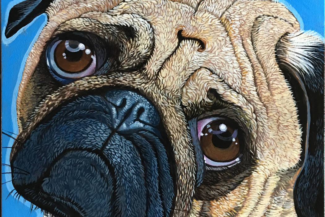 """Pug Perfection,"" acrylic painting on wood panel by Lynne Adamson Adrian, at Wonderland Gallery."