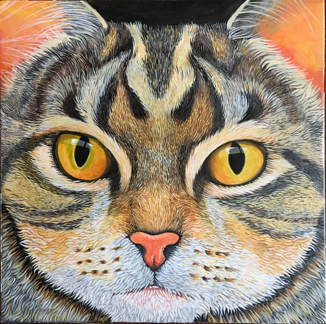 """Tabby,"" acrylic painting on wood panel by Lynne Adamson Adrian, at Wonderland Gallery."