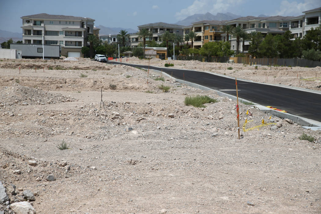 Gary Mayo, group president for Toll Brothers, the site of the future buildings at the Mira Villa condo complex in Las Vegas, Tuesday, July 31, 2018. Erik Verduzco Las Vegas Review-Journal @Erik_Ve ...
