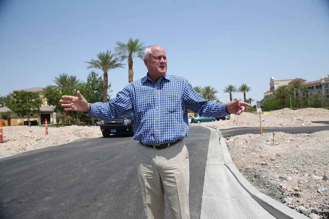 Gary Mayo, group president for Toll Brothers, shows the site of the future buildings at the Mira Villa condo complex in Las Vegas, Tuesday, July 31, 2018. Erik Verduzco Las Vegas Review-Journal @E ...