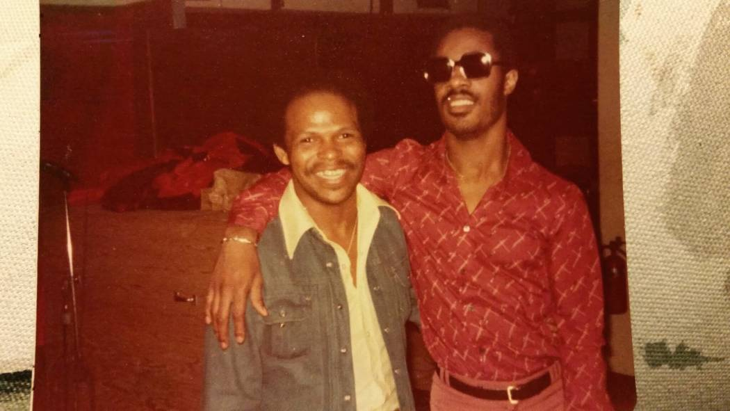 """Ronnie Foster and Stevie Wonder are shown at The Hit Factory in New York during the days of """"Songs in the Key of Life."""" (Ronnie Foster)"""