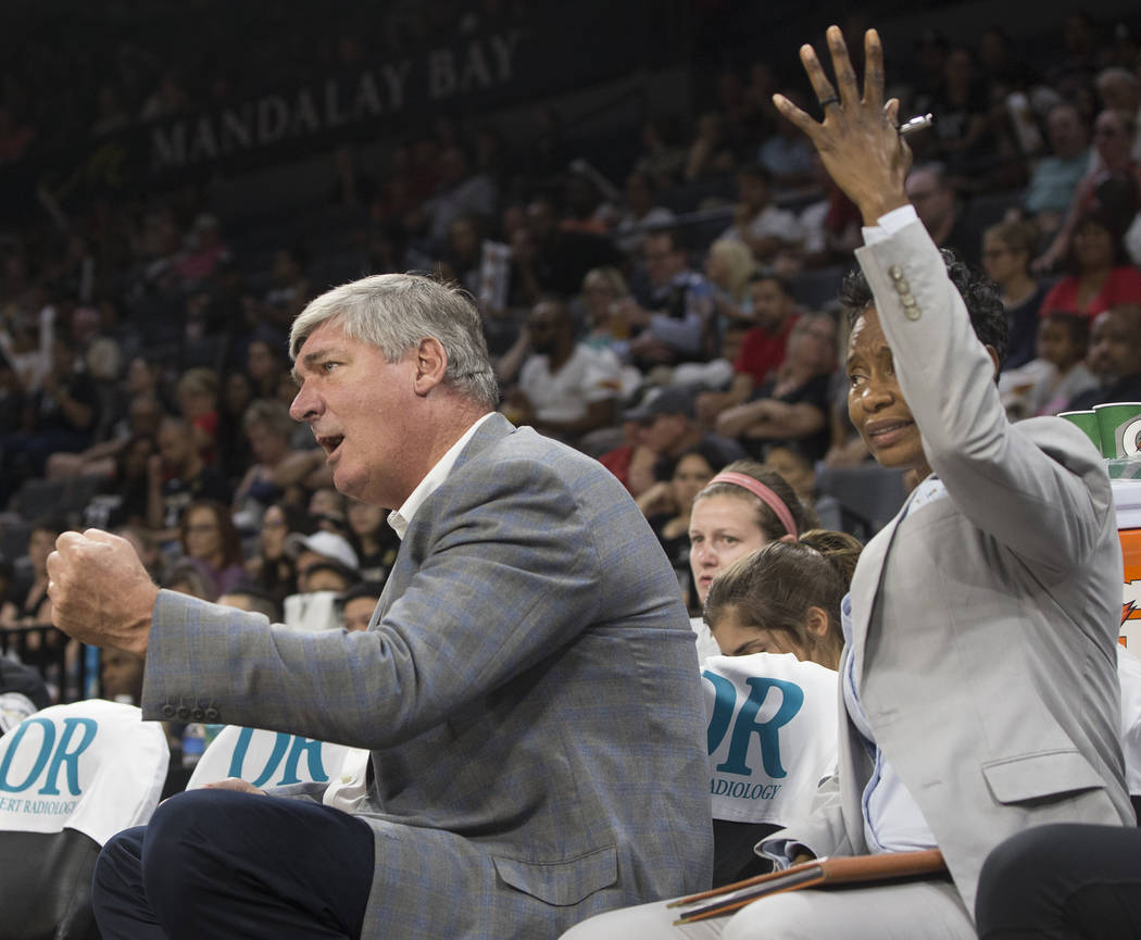 Aces head coach Bill Laimbeer, left, encourages his team in the first quarter during Las Vegas' game with the Phoenix Mercury on Wednesday, August, 1, 2018, at the Mandalay Bay Events Center, in L ...