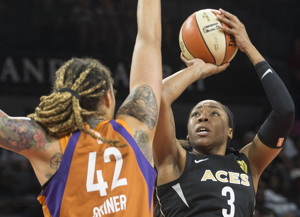 Aces center Kelsey Bone (3) shoots over Phoenix Mercury center Brittney Griner (42) in the first quarter on Wednesday, August, 1, 2018, at the Mandalay Bay Events Center, in Las Vegas. Benjamin ...