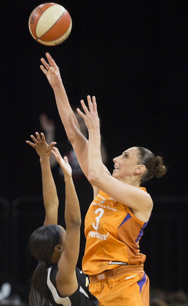 Phoenix Mercury guard Diana Taurasi (3) shoots over Aces center A'ja Wilson (22) in the second quarter on Wednesday, August, 1, 2018, at the Mandalay Bay Events Center, in Las Vegas. Benjamin Hage ...
