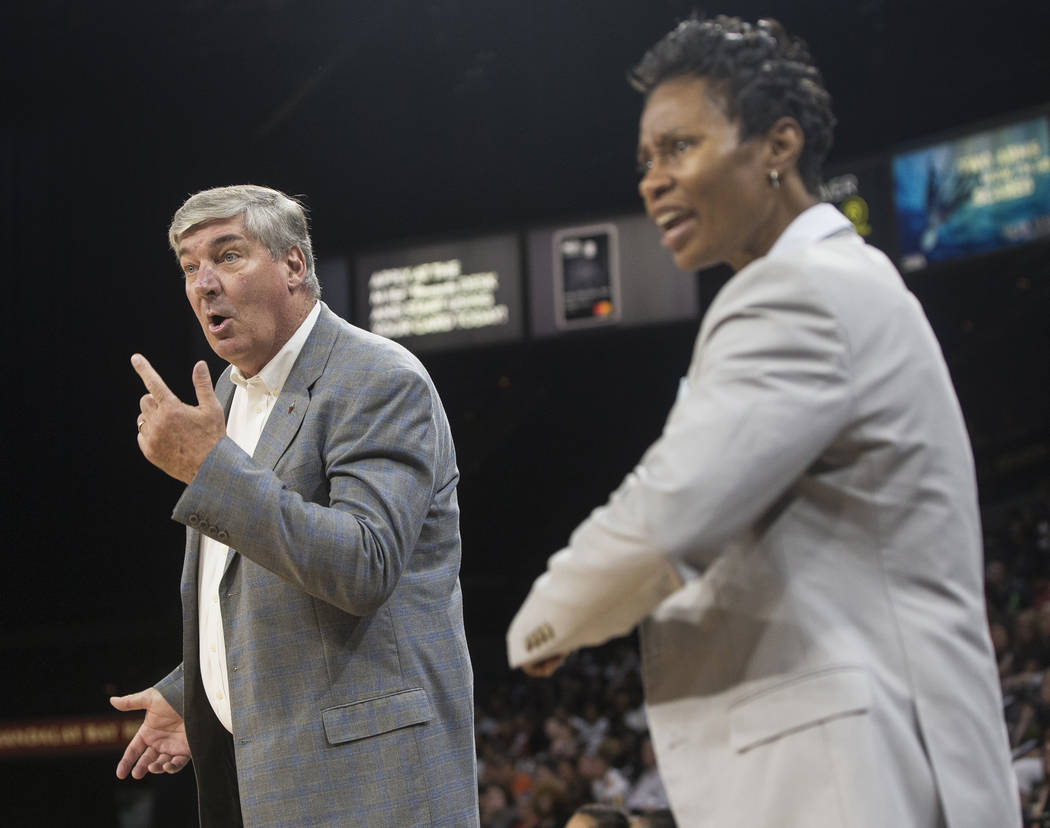 Aces head coach Bill Laimbeer, left, argues a call in the first quarter during Las Vegas' game with the Phoenix Mercury on Wednesday, August, 1, 2018, at the Mandalay Bay Events Center, in Las Veg ...