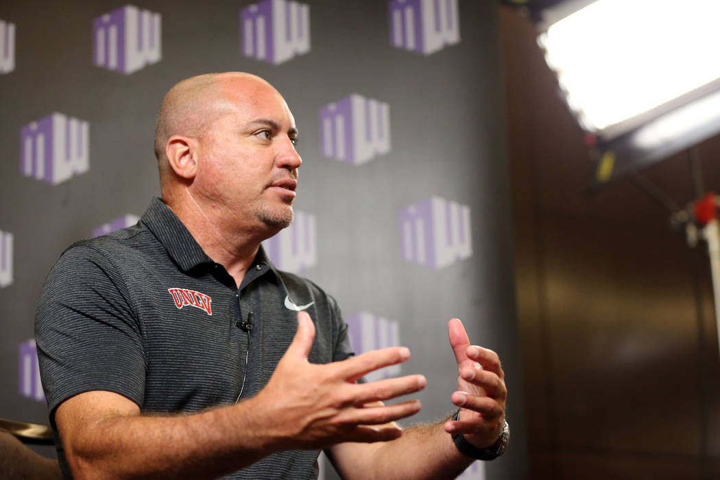 UNLV's head coach Tony Sanchez during the Mountain West Conference football media day at the Cosmopolitan hotel-casino in Las Vegas, Wednesday, July 25, 2018. Erik Verduzco Las Vegas Review-Journa ...