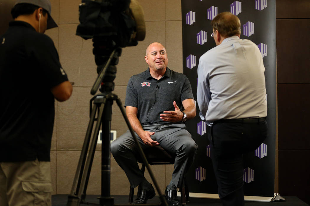 UNLV's head coach Tony Sanchez is interviewed during the Mountain West Conference football media day at the Cosmopolitan hotel-casino in Las Vegas, Wednesday, July 25, 2018. Erik Verduzco Las Vega ...