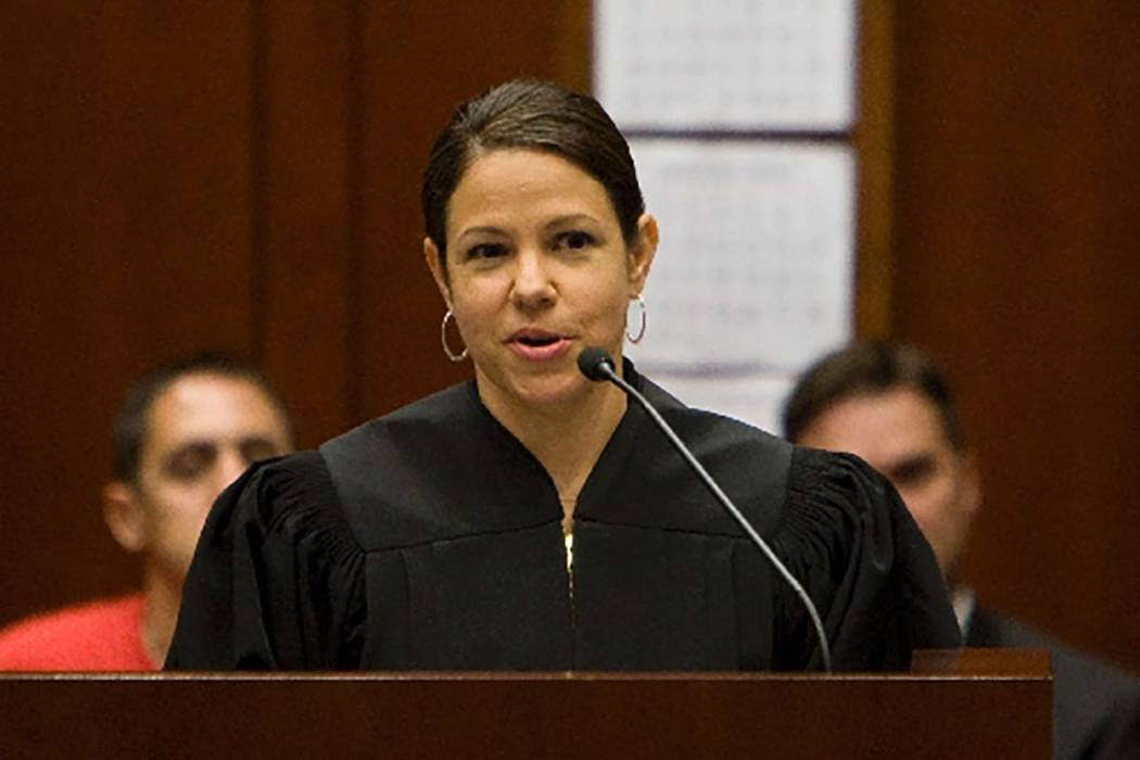Gloria M. Navarro speakes during her investiture as U.S. district judge for the District of Nevada at the Lloyd D. George U.S. Courthouse in Las Vegas, July 6, 2010. (Duana Prokop/Las Vegas Review ...