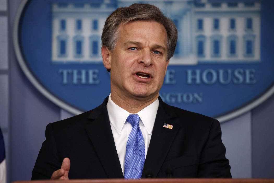 FBI Director Christopher Wray speaks during the daily press briefing at the White House, Thursday, Aug. 2, 2018, in Washington. (Evan Vucci/AP)