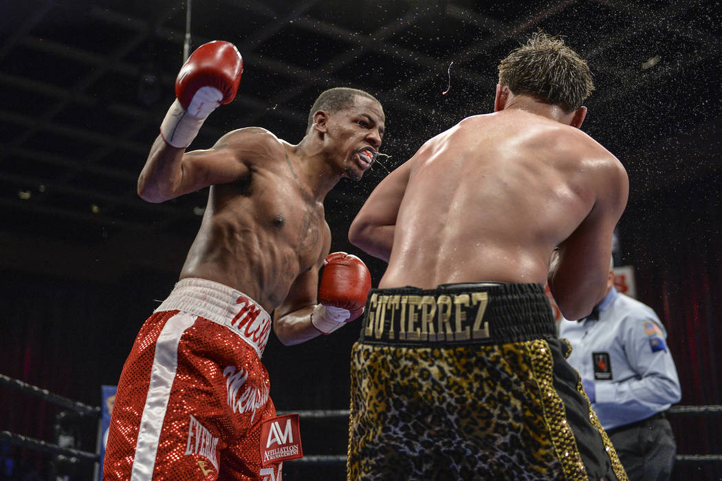 """Ladarius Miller (left) defeated Jesus """"Chuy"""" Gutierrez with an eighth-round TKO at Sam's Town on Saturday. (Idris Erba/Mayweather Promotions)"""