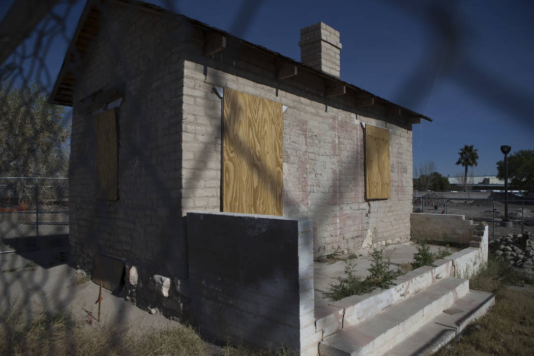 The Adobe building dated to the late 1800s and known as one of the oldest standing building structures in North Las Vegas is seen at Kiel Ranch Historic Park, which is under construction, is seen ...