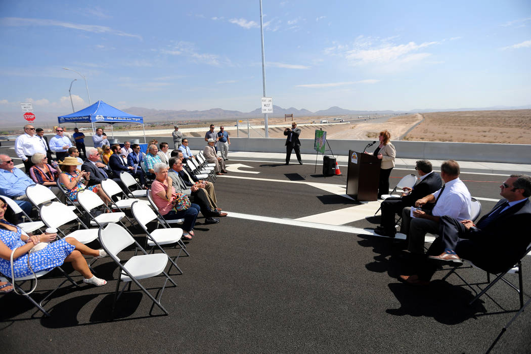 Nevada Department of Transportation Deputy Director for Southern Nevada Tracy Larkin-Thomason speaks during a ceremony marking the opening of Tropical Parkway connector to the Interstate 15 and th ...