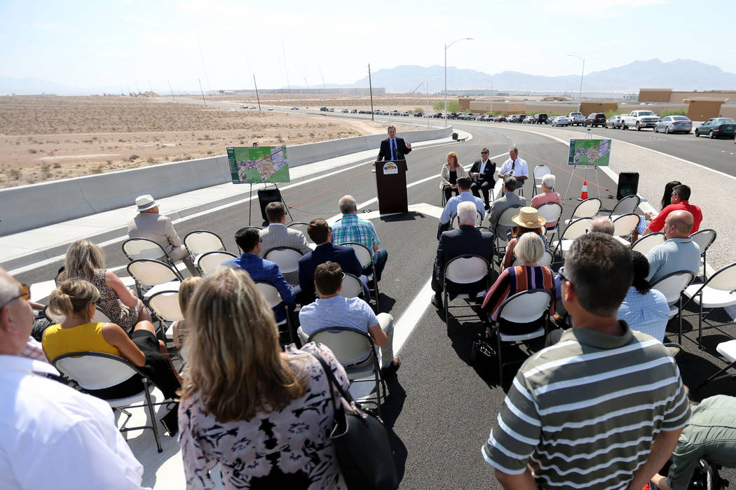 North Las Vegas City Manager Ryann Juden speaks during a ceremony marking the opening of Tropical Parkway connector to the Interstate 15 and the Las Vegas Beltway in North Las Vegas Thursday, Aug. ...