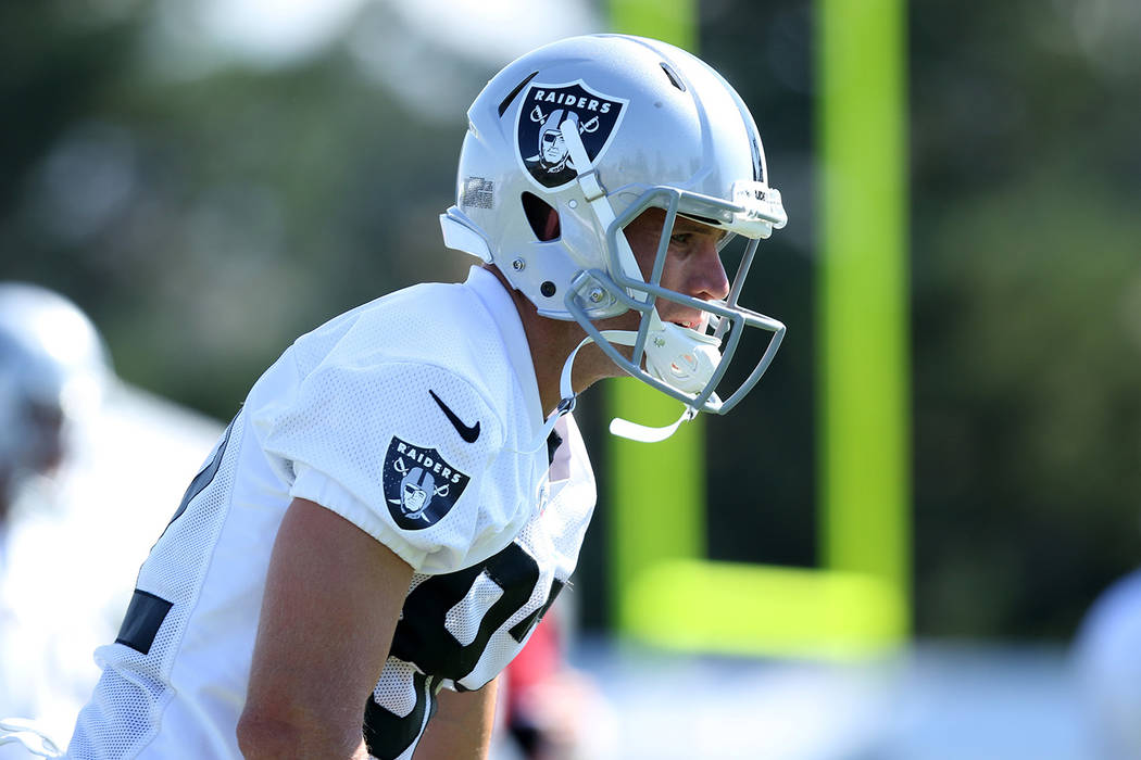 Wide receiver Jordy Nelson (82) warms up at the Oakland Raiders training camp in Napa, Calif., Friday, July 27, 2018. Heidi Fang Las Vegas Review-Journal @HeidiFang