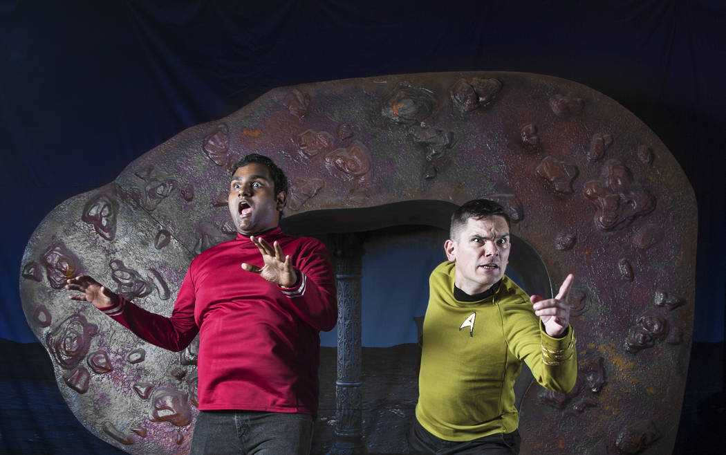 Shashank Avvaru, left, from Little Rock, Ark., and Barry DeFord, from Edmonton, Canada, at the Star Trek convention on Thursday, Aug. 2, 2018, at the Rio, in Las Vegas. Benjamin Hager Las Vegas Re ...