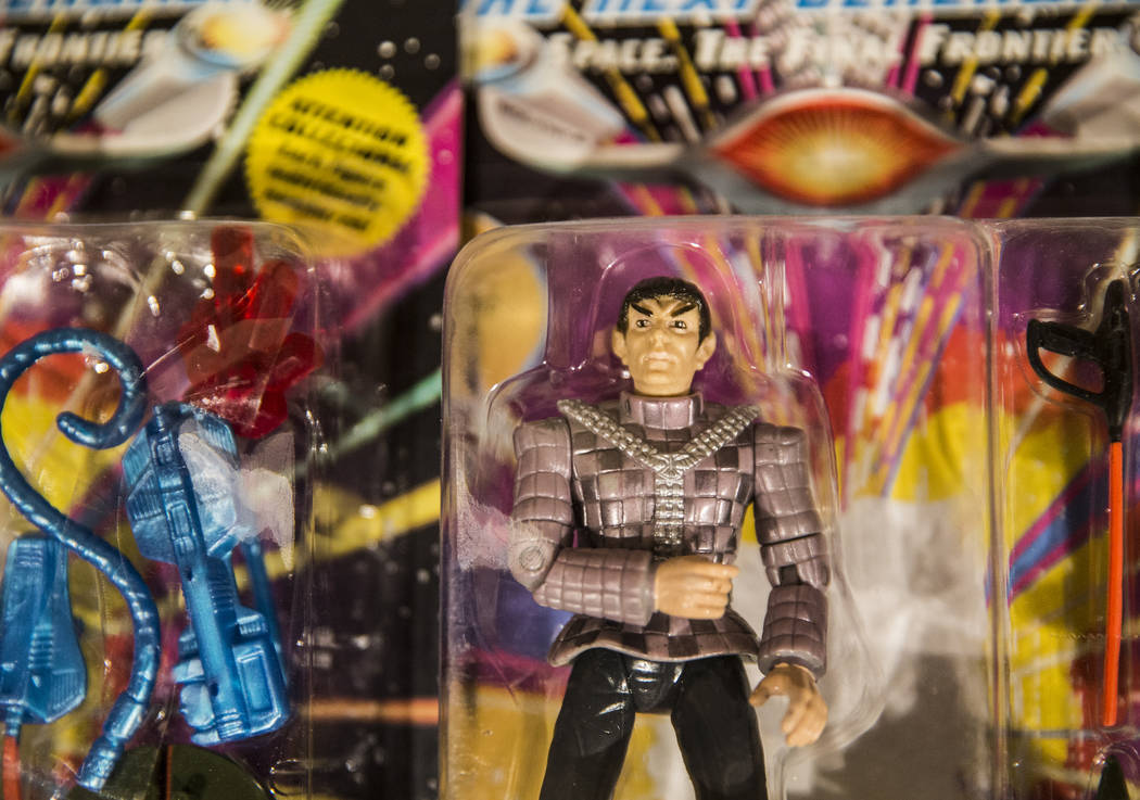 Collectable Star Trek-themed figurines at the Startoys booth, based in Portland, Ore., at the Star Trek convention on Thursday, Aug. 2, 2018, at the Rio, in Las Vegas. Benjamin Hager Las Vegas Rev ...
