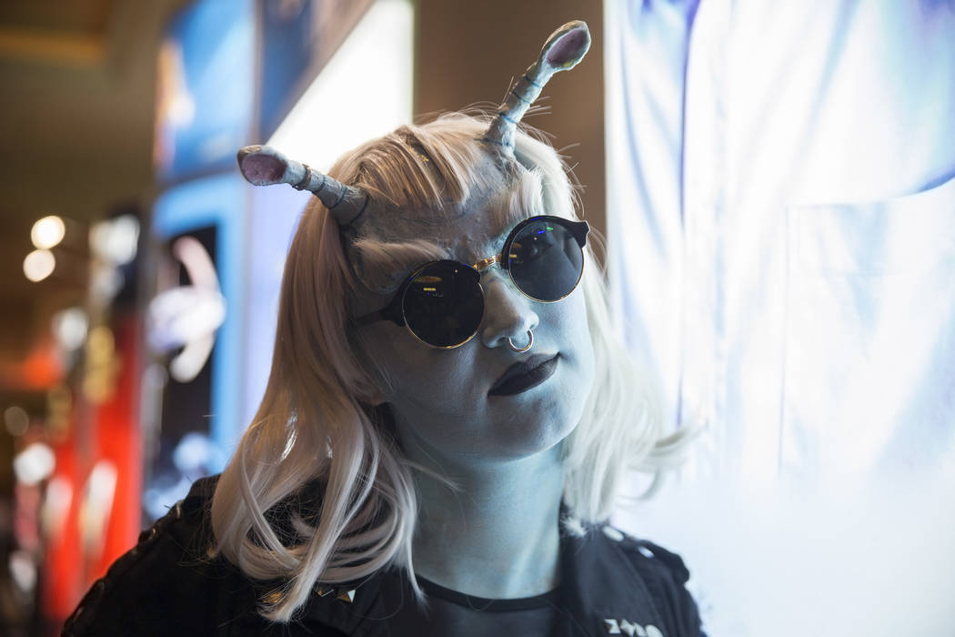 Isabelle Roberts, from Idaho Falls, Ind., waits for a friend at the Star Trek convention on Thursday, Aug. 2, 2018, at the Rio, in Las Vegas. Benjamin Hager Las Vegas Review-Journal @benjaminhphoto