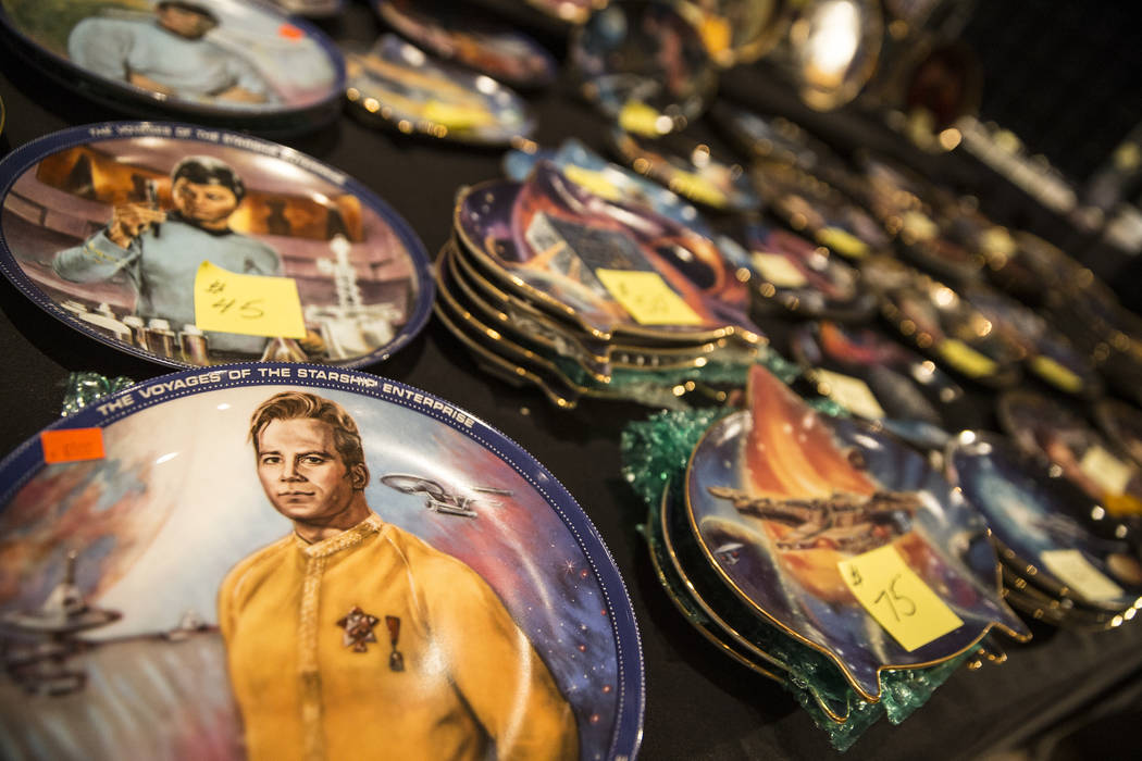 Collectable Star Trek-themed plates at the Startoys booth, based in Portland, Ore., at the Star Trek convention on Thursday, Aug. 2, 2018, at the Rio, in Las Vegas. Benjamin Hager Las Vegas Review ...