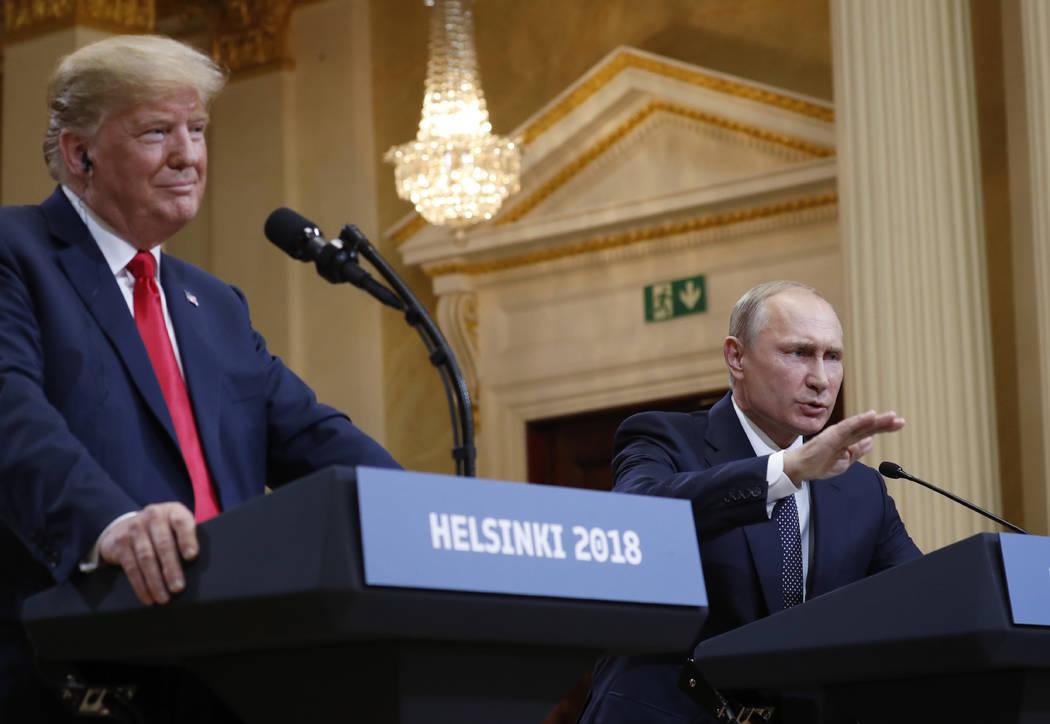 President Donald Trump and Russian President Vladimir Putin in Helsinki. (Pablo Martinez Monsivais / AP)