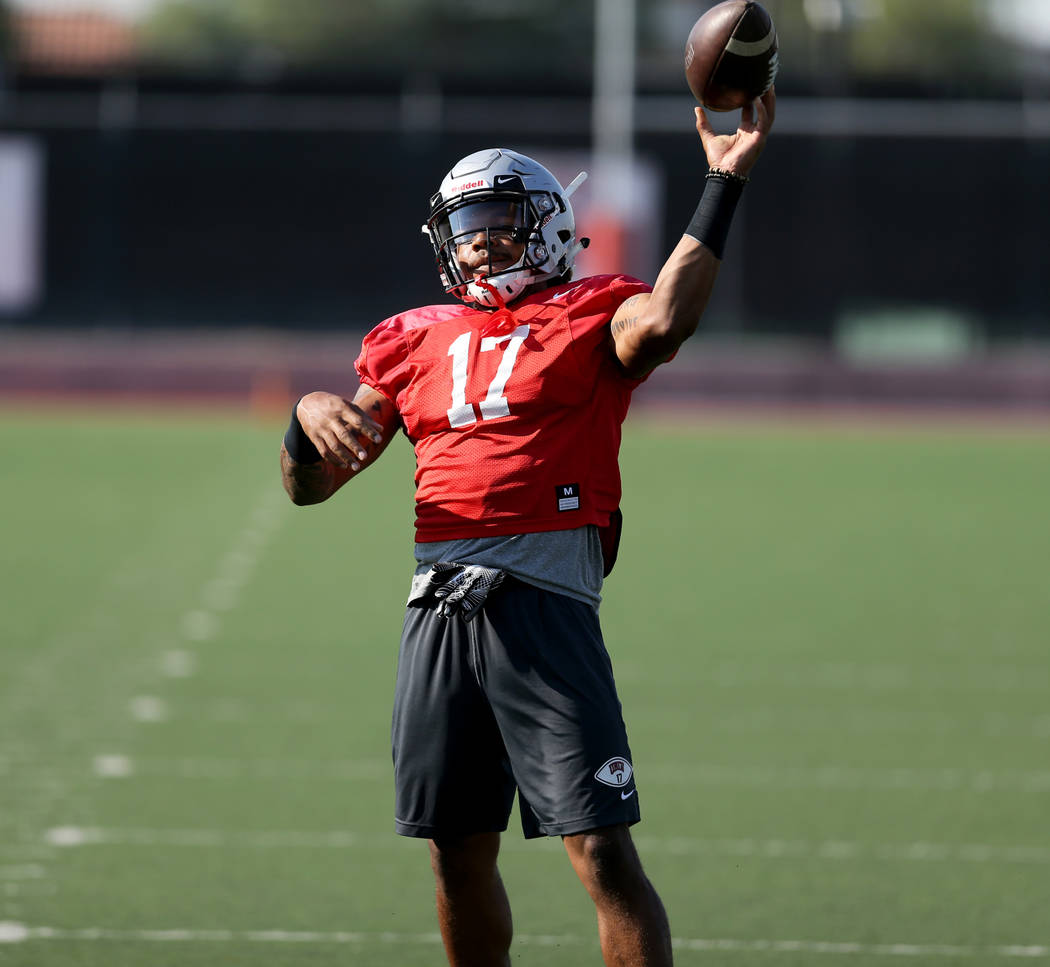 UNLV strong safety Evan Austrie (17) tosses the ball back to the coach after a drill during practice at Rebel Park on the UNLV campus Monday, Aug. 6, 2018. K.M. Cannon Las Vegas Review-Journal @KM ...