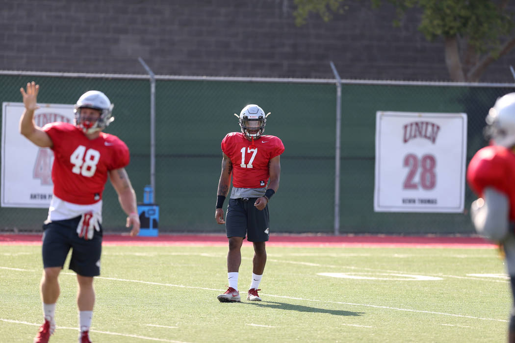 UNLV strong safety Evan Austrie (17) during practice at Rebel Park on the UNLV campus Monday, Aug. 6, 2018. K.M. Cannon Las Vegas Review-Journal @KMCannonPhoto