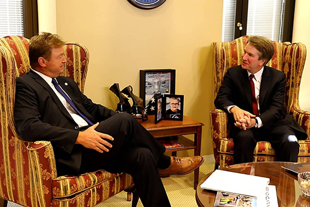 U.S. Sen. Dean Heller, R-Nevada, meets with Judge Brett Kavanaugh on July 19. Kavanaugh was nominated by President Donald Trump to the U.S. Supreme Court. (Office of U.S. Sen. Dean Heller)