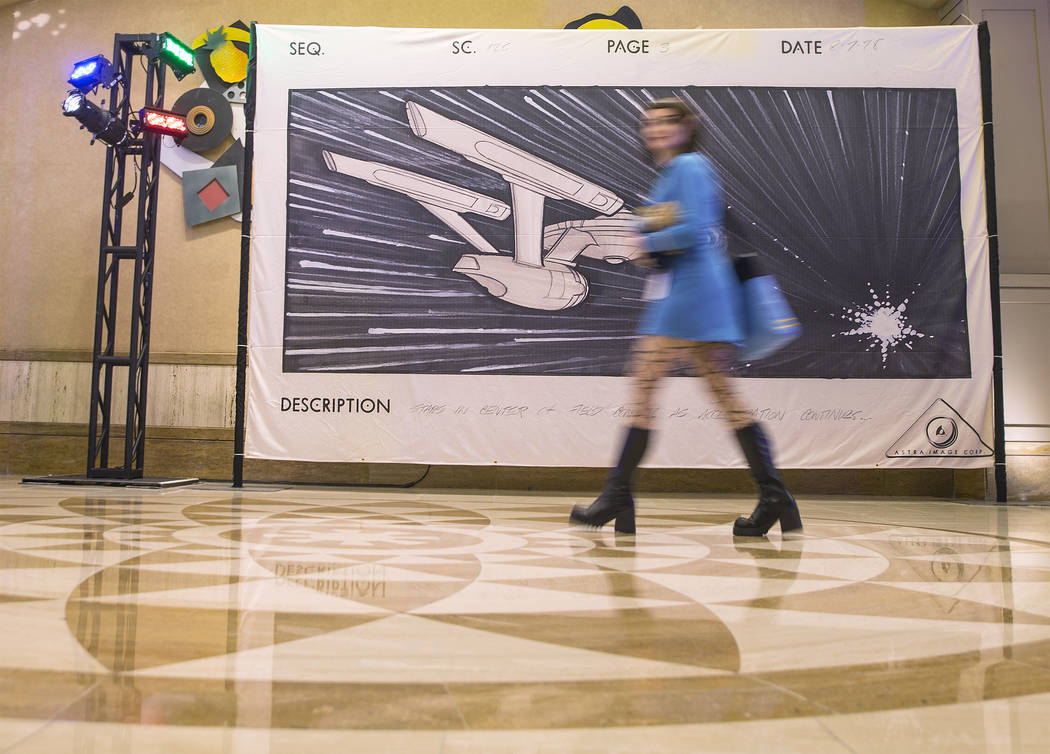 Attendees pass by Star Trek-themed illustrations by Astra Image Corp. on Thursday, Aug. 2, 2018, at the the Star Trek Las Vegas convention, at the Rio, in Las Vegas. Benjamin Hager Las Vegas Revie ...