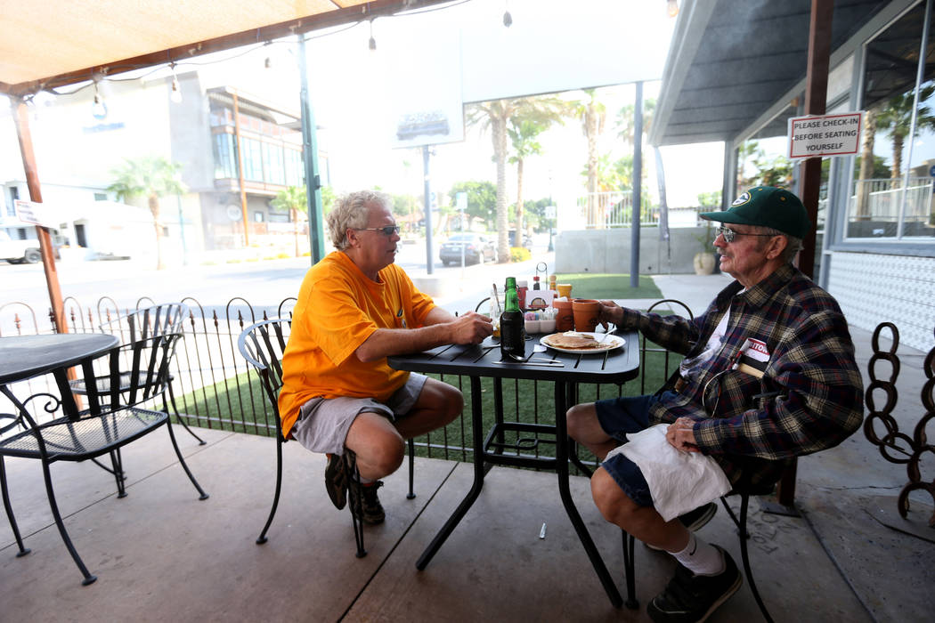 Tom Manikowske of Fargo, N.D. and Gale Greterman of Boulder City at Southwest Diner on the corner of Nevada Way and 5th Street in Boulder City Wednesday, Aug. 1, 2018. K.M. Cannon Las Vegas Review ...