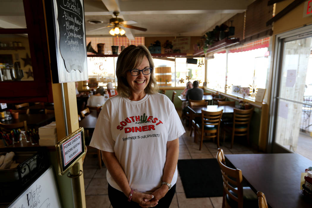 Cindy Ford, the owner of Southwest Diner on the corner of Nevada Way and 5th Street in Boulder City Wednesday, Aug. 1, 2018. K.M. Cannon Las Vegas Review-Journal @KMCannonPhoto