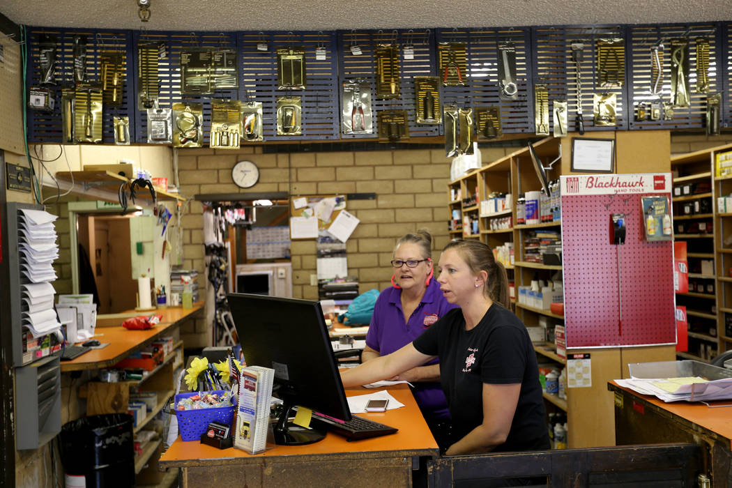 Pam Shivley, left, and Katie Minucci work at Auto Specialists at 705 Juniper Way in Boulder City Wednesday, Aug. 1, 2018. K.M. Cannon Las Vegas Review-Journal @KMCannonPhoto