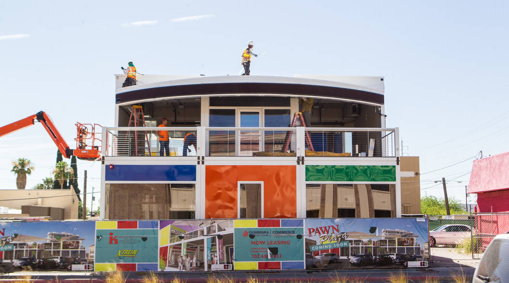 Construction progresses on Pawn Plaza, a Container Park-inspired restaurant and retail shopping complex planned by Rick Harrison of 'Pawn Stars', located next to the Gold and Silver Pawn shop in d ...