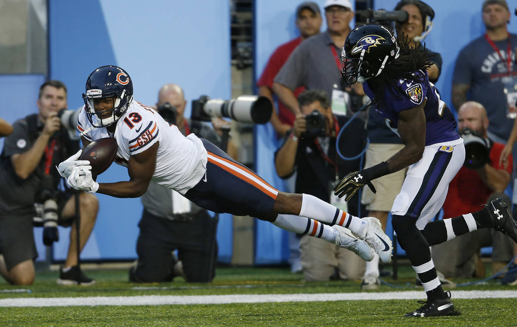 Chicago Bears wide receiver Bennie Fowler can't make the catch in the first half against the Baltimore Ravens at the Pro Football Hall of Fame NFL preseason game, Thursday, Aug. 2, 2018, in Canton ...