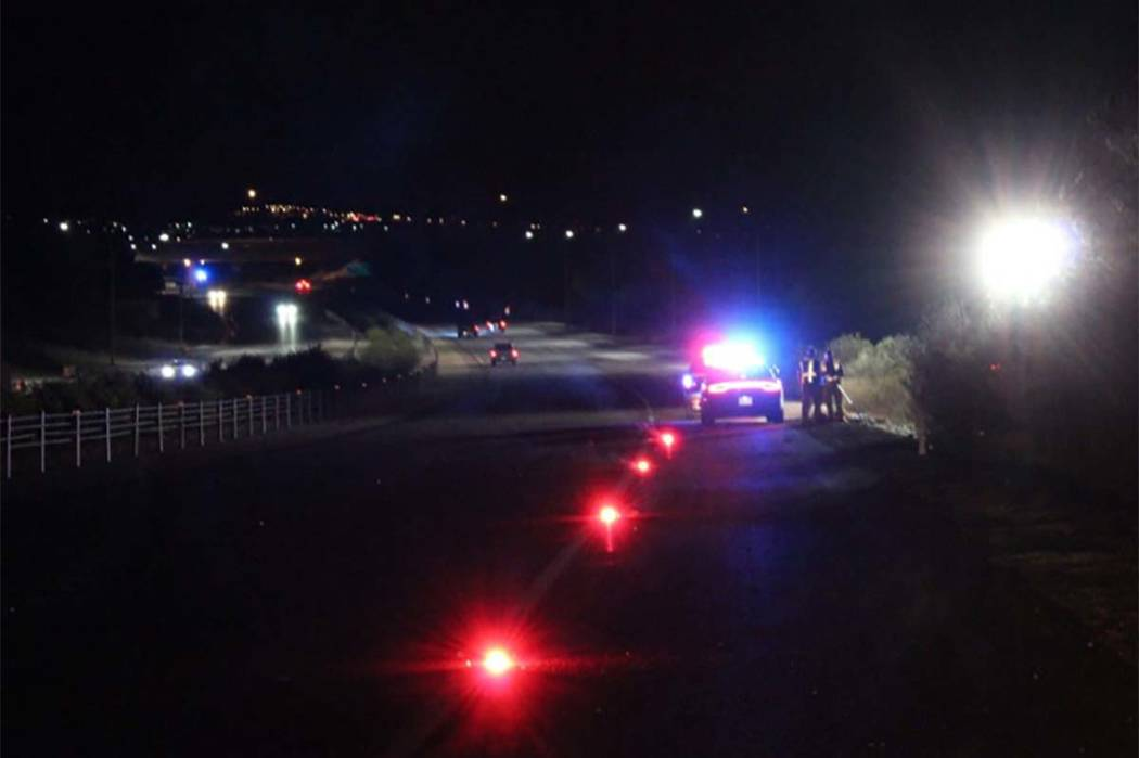 Nevada Highway Patrol troopers investigate a fatal accident Friday morning on Summerlin Parkway just east of the Anasazi Drive exit. (Max Michor/Las Vegas Review-Journal)
