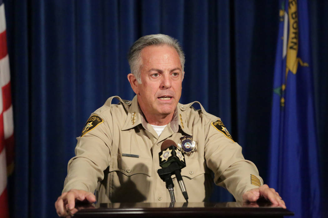 Sheriff Joe Lombardo answers questions during a news conference to announce the release of the final report on the Oct. 1 shooting at Las Vegas Metropolitan Police Department headquarters on Frida ...