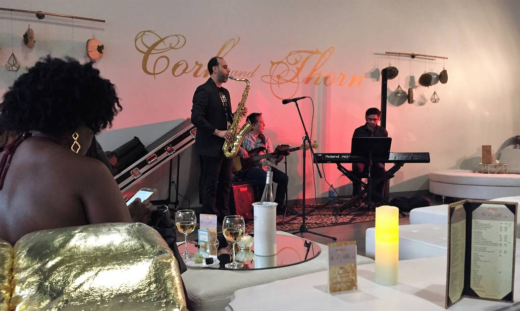 Soft jazz has become a Thursday night staple at the COrk & Thorn wine and floral bar in Tivoli Village. (Christopher Lawrence)