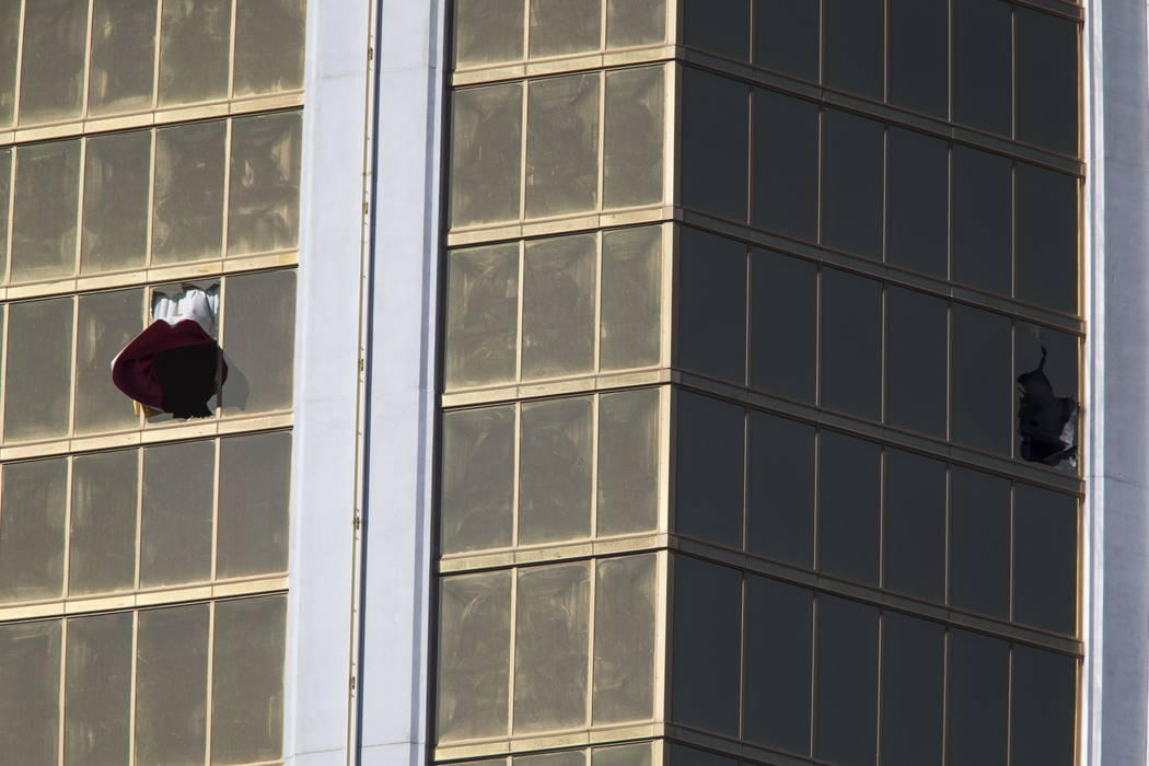 The broken window at Mandalay Bay remains on Oct. 2, 2017, the morning after 58 people were shot and killed at the Route 91 Harvest festival in Las Vegas. Richard Brian/Las Vegas Review-Journal