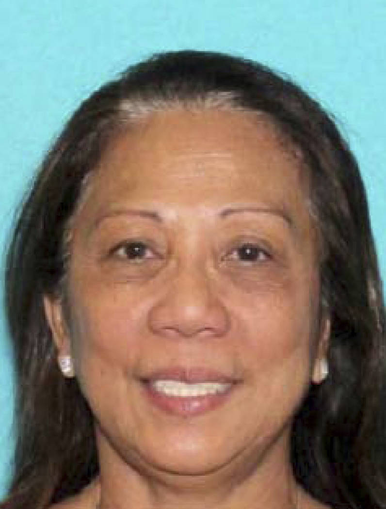 This undated photo provided by the Metropolitan Police Department shows Marilou Danley. Danley, 62, returned to the U.S. from the Philippines on Oct. 3, 2017, and was met at Los Angeles Internatio ...