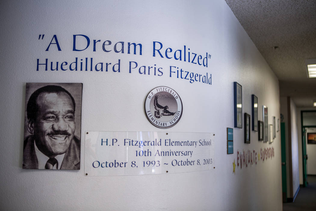 A portrait of H.P. Fitzgerald, the first black principal in Nevada, hangs in the office of H. P. Fitzgerald Elementary School in North Las Vegas on Tuesday, March 6, 2018. (Las Vegas Review-Journa ...