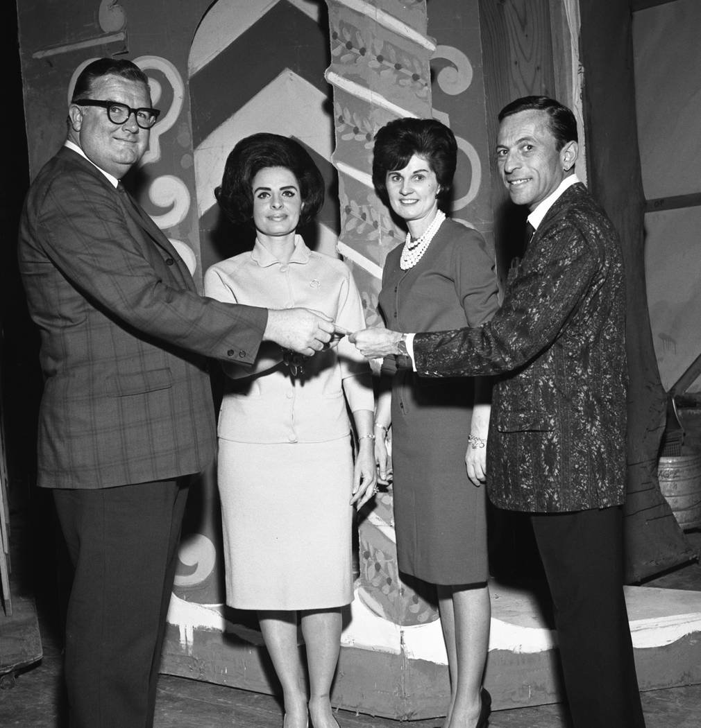 Left to right, Pat Finnegan, Mrs. Carl Eggers, chairman Regina Whalen and Lloyd Katz at the City of Hope Benefit at the Stardust showroom in 1966. (Las Vegas Review-Journal File Photo)
