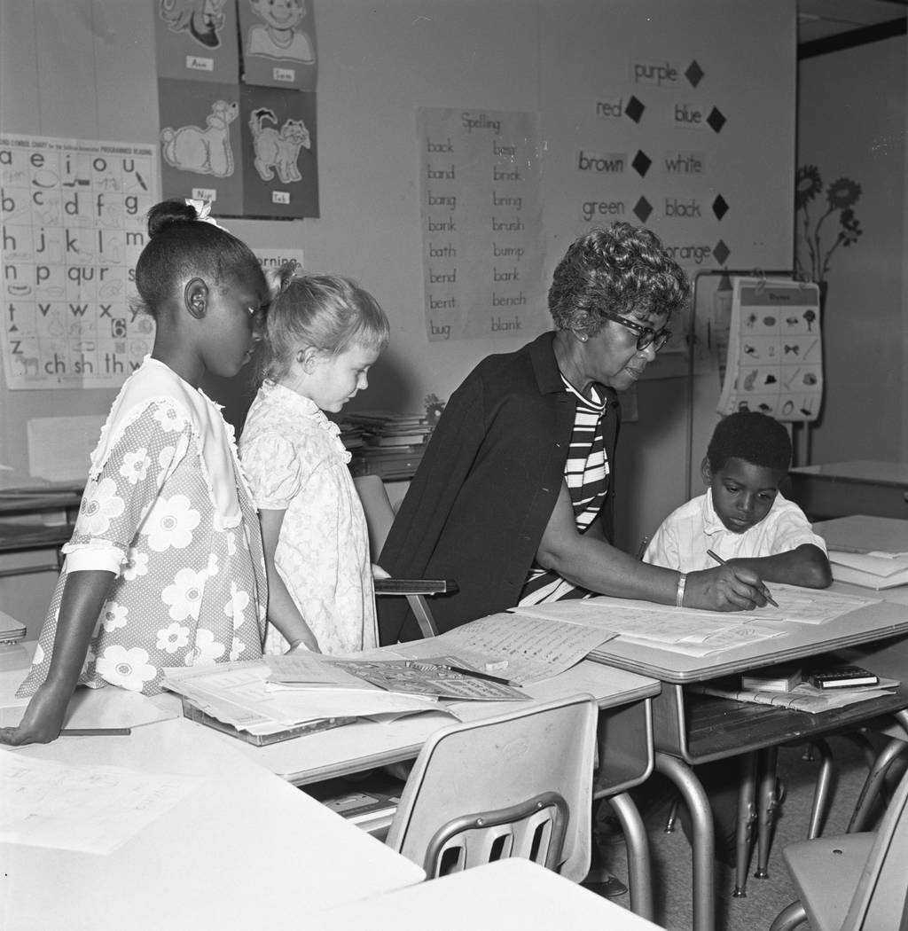 Mrs. Mabel Hoggard, the first black teacher in Clark County, with a few of her first grade students in 1970. (Las Vegas Review-Journal File Photo)