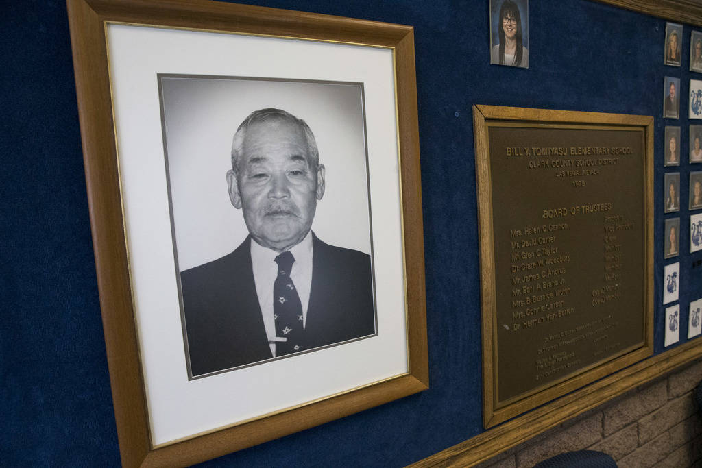 A photo of Bill Yonema Tomiyasu in the office of Tomiyasu Elementary School in Las Vegas on Monday, Aug. 6, 2018. Richard Brian Las Vegas Review-Journal @vegasphotograph