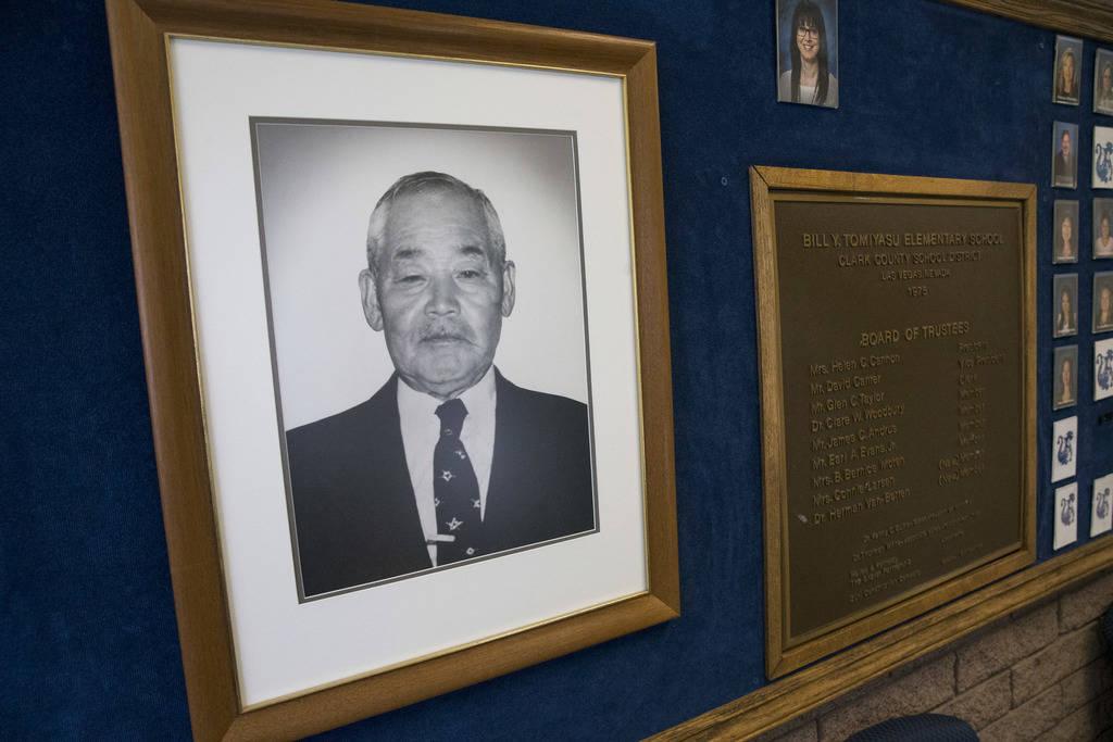 A photo of Bill Yonema Tomiyasu in the office of Tomiyasu Elementary School in Las Vegas on Monday, Aug. 6, 2018. Richard Brian Las Vegas Review-Journal @vegasphotograph